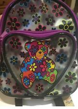 Vintage Lisa Frank Blossom Bear Mini Backpack Frosted Clear Teddybear Flower 90s