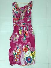 AUTH Dolce & Gabbana D & G Pink Floral Print Draped Neck Dress Gold Chains 46