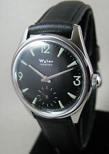 Vintage Wyler Stainless Steel BLACK Luminous Diver Dial Mens Watch 17J 1960 Gift