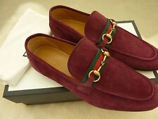 $620 Gucci Men's Red Suede Horsebit Loafer 'Elanor' Stripe Italy 9G 10 US - NEW