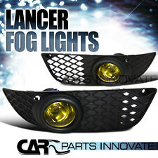 2008-2012 Mitsubishi Lancer JDM Yellow Driving Fog Lights Lamps+Switch