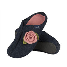 Ladies Gorgeous Black or Navy Blue Felt Clog Slippers With 3D Rose Decoration