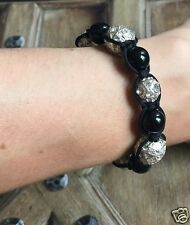 Anthropologie Urban Trend Shamballa Friendship Pave Silver & Black Bead Bracelet