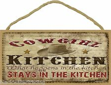 "Cowgirl Kitchen What Happens In The Kitchen Stays Sign Western Lodge 5""X10"""
