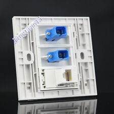 Wall Socket Plate 3 Port Dual SC Opitcal Fiber  RJ45 Network Lan Panel Faceplate