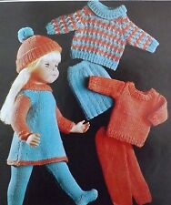 "Doll Clothes Knitting Pattern Vintage 16-20"" Sweater Tights Trousers Dress C9145"