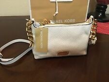 NWT Michael Kors Bedford Optic White Pebbled Leather Crossbody