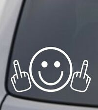 SMILEY FACE MIDDLE FINGER Vinyl Decal Sticker Car Window Wall Bumper Funny
