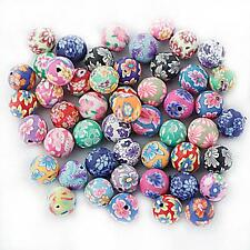 50Pc Floral Fimo Polymer Clay Round Beads Charms for DIY Jewelry Making 10mm
