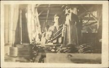 Shoe Factory Worker & Machinery Labor Work Manufacturing c1910 RPPC