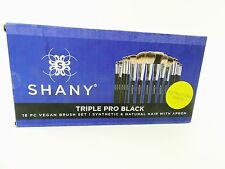 SHANY Triple Pro 18 Piece Brush Set Synthetic and Natural Hair with Apron, Black