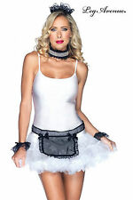 SEXY DIRTY FRENCH MAID COSTUME OUTFIT WHITE TULLE PETTICOAT LACE LEG AVENUE SM