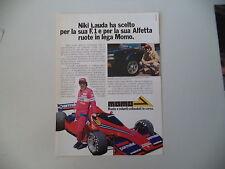 advertising Pubblicità 1978 RUOTE MOMO e NIKI LAUDA e ALFETTA