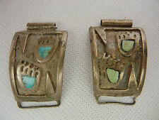 Vintage Sterling Silver w/Turquoise Bear Paw Watch Band End Clips