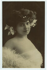 c 1910 Lovely Young Lady BUSTY BEAUTY photo postcard