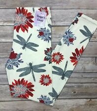 EXTRA PLUS Size Dragonfly Floral Leggings Rare Print Soft Curvy Fits 16-24