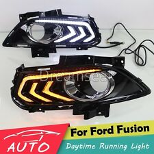 DRL LED DAYTIME RUNNING LIGHT FOG LAMP FOR FORD FUSION MONDEO W/ TURN SIGNAL #TS