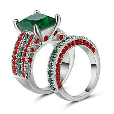 10KT White Gold Filled Emerald Wedding Ring Set Princess Cut Double Band Size 6