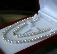 """New 8MM White Akoya shell Pearl Necklace Earring Set 18"""" AAA"""