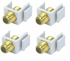 4x F Type Coax Coaxial Cable Coupler Female/F Snap-in Jack Insert for Keystone