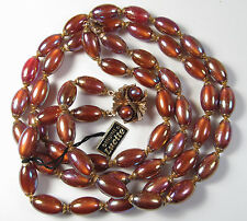 Vintage Carnival Lustre Metallic LUCITE Bead Necklace Double Strand Original Tag