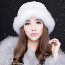 White Women Winter Hat Real Knit Rex Rabbit Fur Hat with Fox Fur Brim Bucket Cap