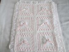BABY OR REBORN RIBBON & ROSETTE PRAM BLANKET KNITTING PATTERN