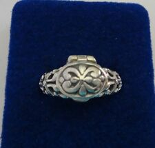 size 9 Sterling Silver Movable 10x13mm Oval with design Prayer Box Ring