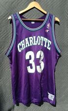 VINTAGE CHAMPION ALONZO MOURNING CHARLOTTE HORNETS JERSEY SIZE 48 RARE NBA XL