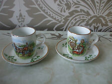 Vintage Retro Arklow China Pair Souvenir of Ireland Demi Tasse Coffee Cups