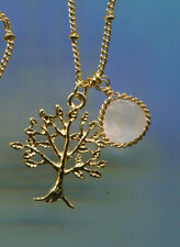 "16"" to 19"" long Yellow Gold Plated Rose Quartz Tree of Life Necklace"