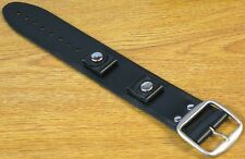 New Bikers Black Wide Genuine Leather Watch Band Buckle -Punk Rock Skaters Strap