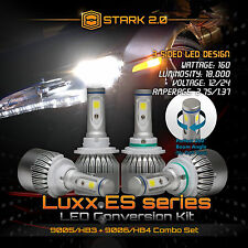 9006 9005 LED Total 160W 18000LM Combo Headlight High 6000K White 3-Side Kit (B)