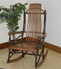 Rustic HICKORY & OAK 9 Slat WIDER PORCH ROCKER- WALNUT STAIN- Amish Made USA