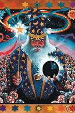 Psychedelic Art Merlin Wizard Poster UV Black Light Fluorescent Glow In The Dark