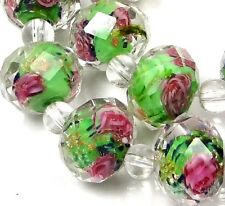 15 Czech Glass Faceted Rondelle Beads - Sap Green Rose Flower 10x7mm
