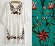 Vintage Mexican EMBROIDERY BOHO Womens Blouses Blouse womens clothes Summer Tops