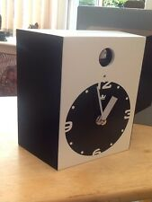 Modern Cuckoo Clock In Black/ White Black Suede/black Face Quartz Movement Bnib