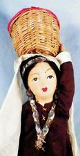 Indian Woman Doll & Basket Stockinette Cloth Wire Painted Features 12 inch