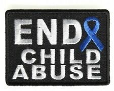 END CHILD ABUSE BLUE RIBBON BIKER EMBROIDERED PATCH