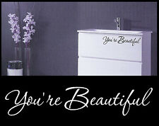 YOU ARE BEAUTIFUL VINYL WALL DECAL STICKER MIRROR GIRL BEDROOM KIDS BATHROOM