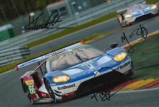 Priaulx, Franchitti, Tincknell Hand Signed Ford GT 2016 Le Mans Photo 12x8 1.