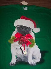 FUNNY PUG PUPPY DOG IN SANTA HAT CHRISTMAS T-Shirt 2XL XXL NEW w/ TAG