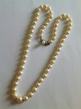 Fine Vintage Baroque Cultured Pearl Necklace With Engraved Silver Pearl Clasp
