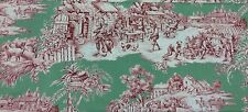"""Cotton Print DRAPERY FABRIC by DURALEE """"countryside toile"""" green and red 7.5 yds"""