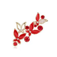 18K ROSE GOLD PLATED  AND GENUINE AUSTRIAN CRYSTAL RED ENAMEL BUTTERFLY BROOCH