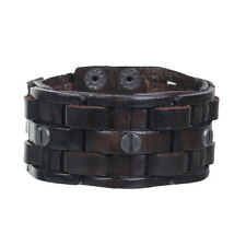 Sexy Sparkle Mens Genuine Real Leather Wrist Bracelet Wide Casual Wristband Cuff