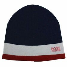 Hugo Boss Men's Ciny Navy/Red Knit Beanie Hat (One Size Fits Most)