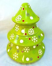 """NEW Christmas Tree Cookie Jar Ceramic Green Snowflakes 12"""" North Pole Trading Co"""