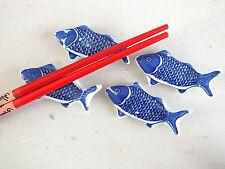 6 Blu Koi Carpa ceramica BACCHETTE STAND resto Capodanno Cinese Giapponese Party